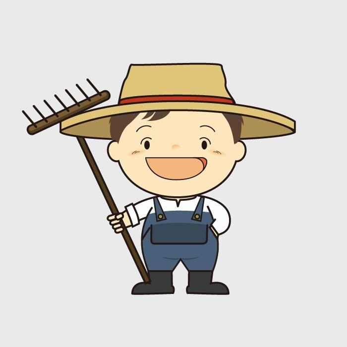 鍬を持ち帽子をかぶった男の子のイラスト