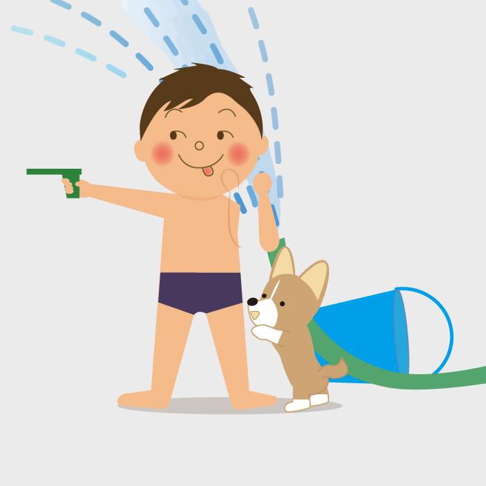 水鉄砲を持って水着で遊ぶ男の子のイラスト