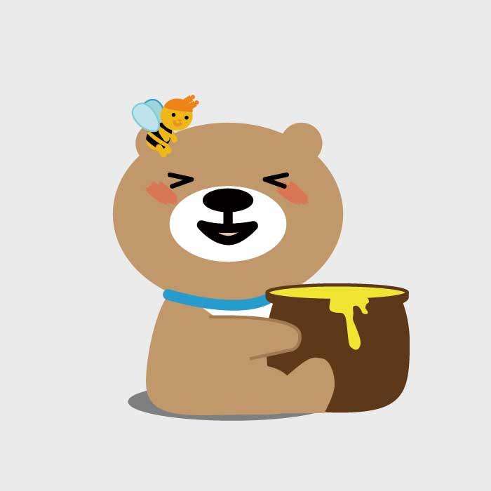 蜜壺から蜂蜜を美味しそうに食べる熊のイラスト。頭には蜂が止まっています。